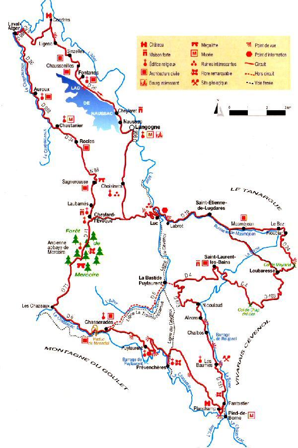 Carte d'itinéraires auto/moto, Lozère