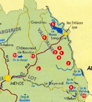 Carte des randonnées pédestres autour du Refuge du Moure, Lozère