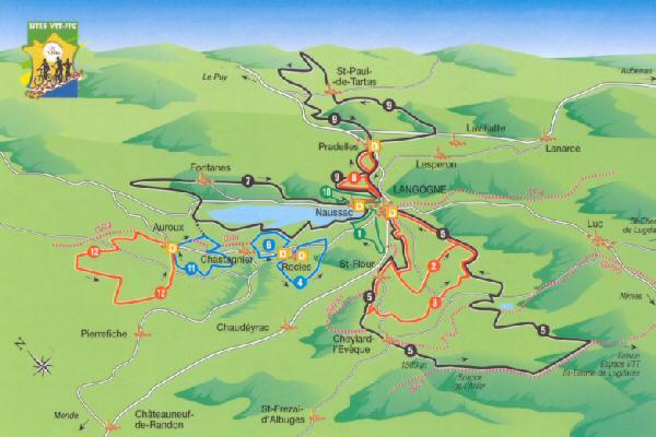 Carte des randonnées VTT du VTT-FFC, Lozère
